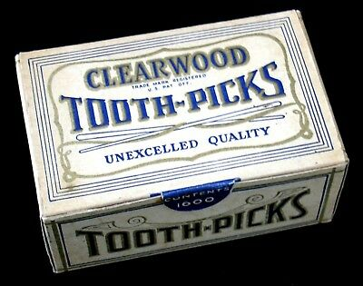 FULL New Old Stock Box Antique CLEARWOOD Vintage Toothpicks MAINE Unopened