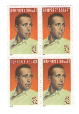 Humphrey Bogart Casablanca Here's Lookin At You Bogie 20 Yr Old Mint Stamp Block