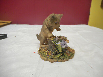 1996 cURICUS eNCOUNTERS  GRAY WOLF & MOUSE Sculpture COLLECTION MICHAEL ADAMS