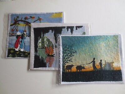 New - Lot / Collection of 3 silk thread silk embroidery Vietnamese paintings