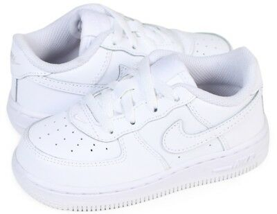 New Nike Infant Toddler Air Force 1 Leather Shoes White-White Orig 314194117