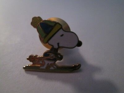 Aviva Cloisonne Snoopy Racing On Skis In Stocking Cap Tac Pin New, Mint!