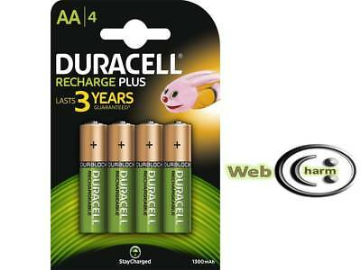 4 x Duracell AA HR6 1300mAh NiMH Pre,Stay Charge DURALOCK Rechargeable Batteries