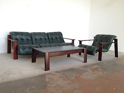 MP129 leather seating group, sofa & chair & table, design Percival Lafer 60ies