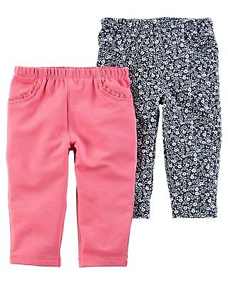 Carters Baby Girls 2 Pack Pants (Baby) (Newborn, Hot Pink/Grey Dot)
