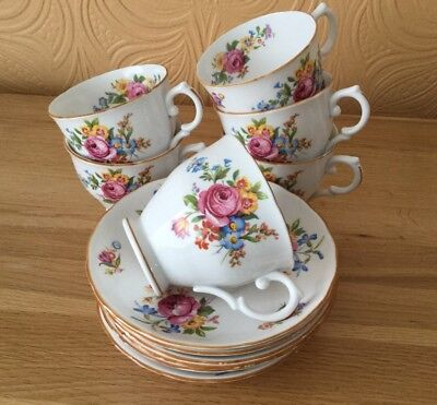 Pretty Floral Tuscan China Cups And Saucers Set Of 6
