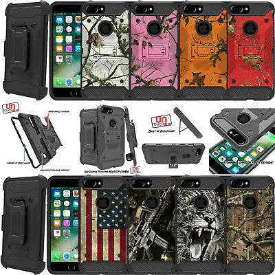 For Apple iPhone 7 (4.7) Holster Case Heavy Duty Hybrid Shell Case Camo Tree