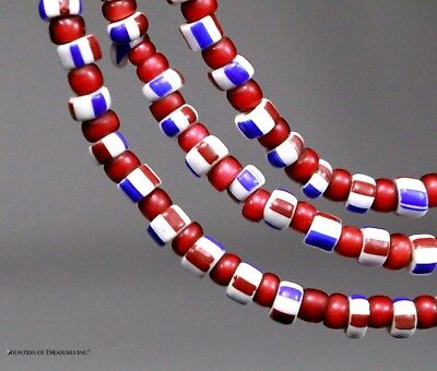 Native American White Heart & Striped Old Trade Beads G. Lakes Indian NY 1800's