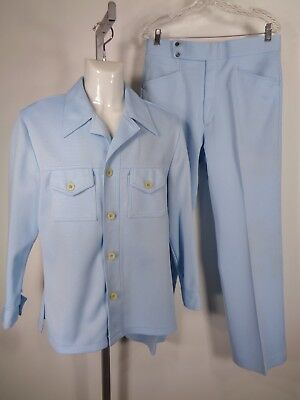 Vtg 1970's Mens Polyester Leisure Suit Size 40 Haggar Blue Check Rockabilly