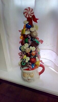 Vintage Bottle Brush Christmas Tree Fairy Lights VTG Candy Popcorn Santa Cakes