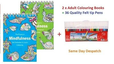 2 BOOKS ADULT COLOURING Mindfulness Relaxing Anti-Stress + 36 Felt tip Pens