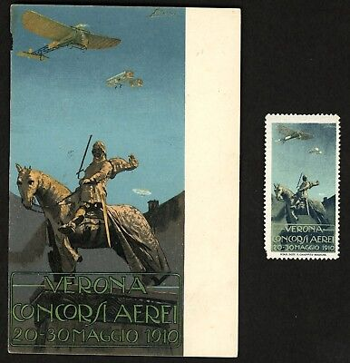 1910 VERONA ITALY Air Show & Meet ~ Postcard & Poster Stamp