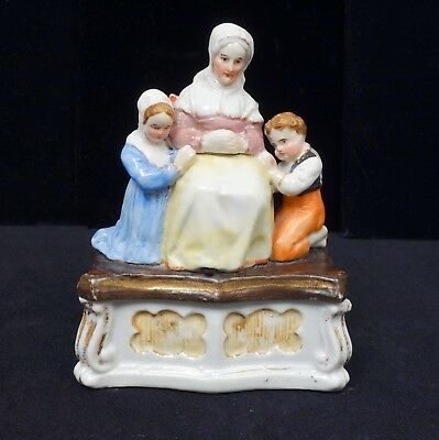 Antique 19c Continental Porcelain Fairing Matchbox Figural Praying Family