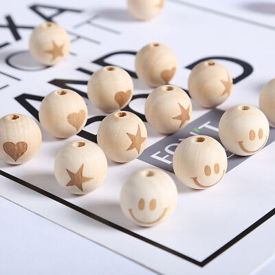 50pcs Unfinished Wooden Beads Round Ball Spacer Love Heart Crown Chain 20mm
