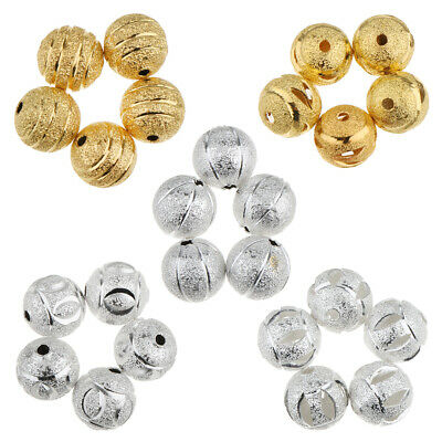 50Pcs Silver Gold Plated Charms Loose Round Ball Copper Spacer Beads Finding