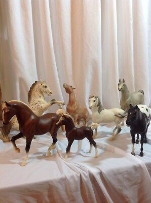 "Lot Of 7 Breyer Molding Co. Toy Horses Size 11""-12"""