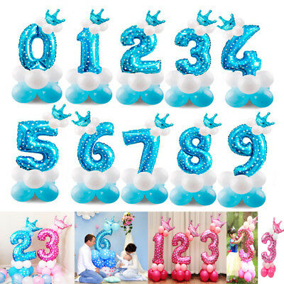 16pcs/set Number Foil Balloons 32 inch Digit Helium Ballons Birthday Party Decor