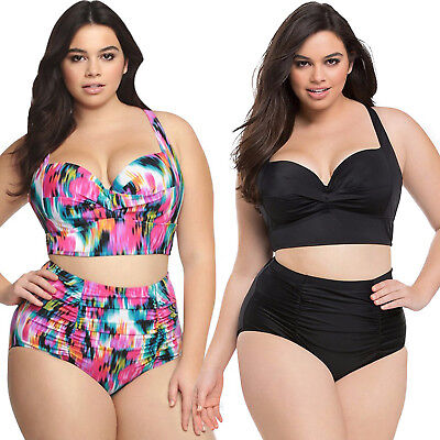 Women Push Up Bikini Set Plus Size High Waist Swimsuit Swimwear Bathing Suit 5XL