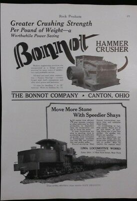 Vintage Ad 1929 LIMA LOCOMOTIVE LIMA OHIO & BONNOT CRUSHER & 2 OTHER ADS     #76