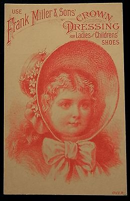 FRANK MILLER & SON Tradecard CROWN DRESSING Ladies and Childrens Shoes BEAUTIFUL