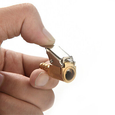 New 6mm Clip On 1/4'' Auto Car Tire Inflator Valve Connector Air Chuck Brass