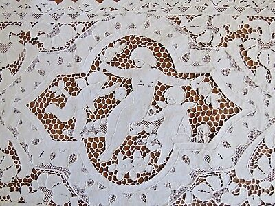 Antique Doily Table Placemat Dresser Tray Mat Point de Venise Set Angels Cherubs