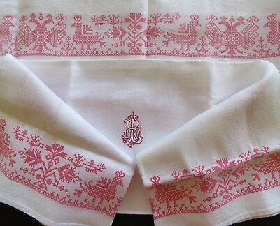 Antique Linen Napkins Damask White Heraldic Double Headed Eagles Crowns Monogram