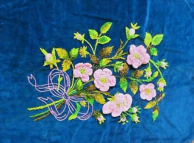Antique Pillow Cover Embroidered 3D Chenille Flower Vintage Handmade Pillowcase