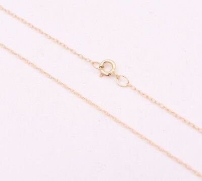 """0.6mm Open Dainty Twisted Rope Chain Necklace Real Solid 14K Yellow Gold 16"""" 18"""""""