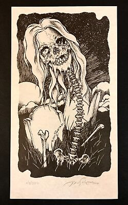 "PUSHEAD Signed+Numbered Print ""TOMBSTONE FLOWER"" #43/222 Rare Misfits Metallica"