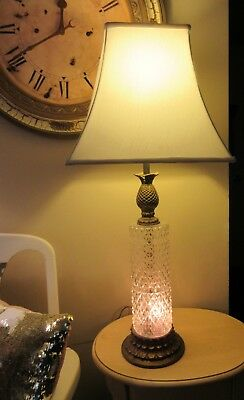 Vintage Crystal Glass Gold Brass Pineapple Table Lamp Mcm