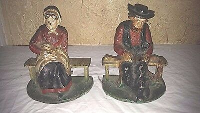 Vintage Pair Of Cast Iron Amish Couple Bookends Doorstop Paperweight Heavy