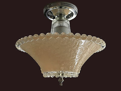 Beige Tan Hobnail Frosted Glass Shade Vintage Art Deco Ceiling Light Fixture