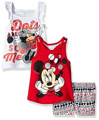 Disney Baby Girls' 3 Piece Minnie Mouse Short Set Red 6X Big New