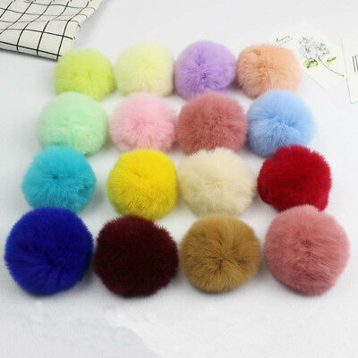5Pcs 6cm Real Rabbit Fur Pom Pom Ball DIY Keychain Hat Beanie Shoes Accessories