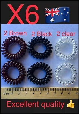 6pcs Elastic Girl Rubber Telephone Wire Hair Ties Plastic Rope Hairband Spiral