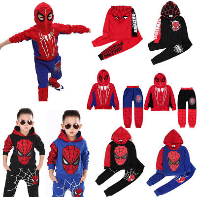 Spiderman Costume Kids Boys Outfits Set Hoodies+Jogger Pants Tracksuit Sportwear