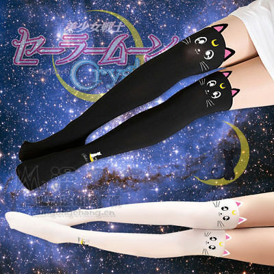 e9aa1ad18 Sailor Moon Kawaii Luna Cat Lolita Thigh-Highs Cosplay Anime Anti-hook  Stockings
