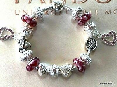 Authentic Pandora Bracelet With Charms Fancy Pink Hearts Love Story Box Choice
