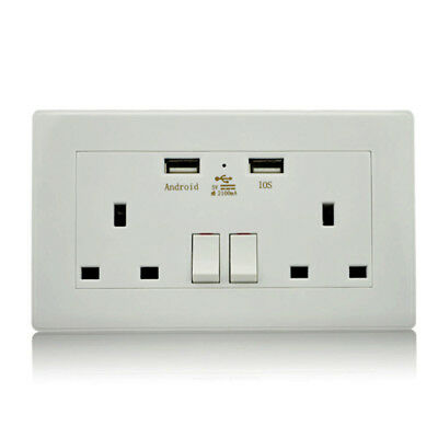 Wall Socket with USB Charging Port Standard White Socket Built-in USB Charger