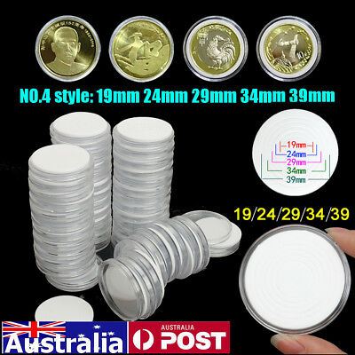 50Pcs Capsules Coin Holders Case Plastic Storage Adjustable for 19 24 29 34 39mm