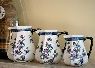 Set Of Antique Vintage Graduating Jugs Losol Ware Chartley Keeling & Co Burslem