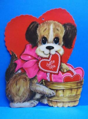Vintage Valentines Day Puppy Dog Basket of Hearts Die Cut Cardboard Decoration