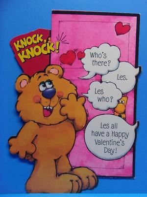Vintage Hallmark Valentines Day Die Cut Cardboard Decoration Knock Knock Joke