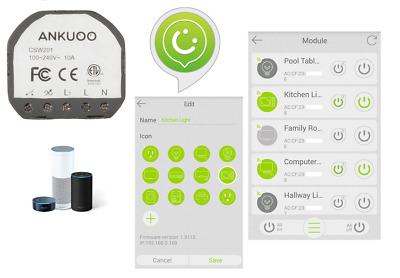Ankuoo REC wifi wall smart switches with Alexa, Android and iPhone control.