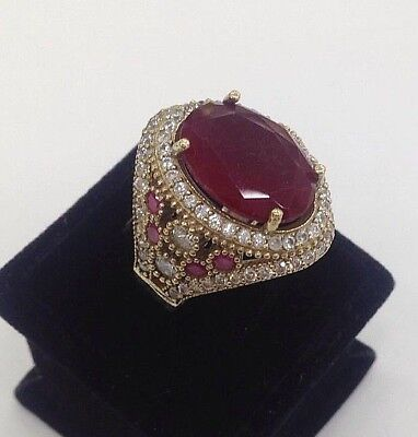 Turkish 925 Sterling Silver Handmade  Jewelry Ruby Stones Ladie's Ring