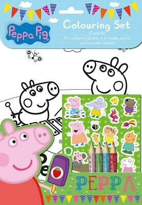 Peppa Pig Colouring Set With Stickers Colouring Pencils Fun Activity Book - Kids