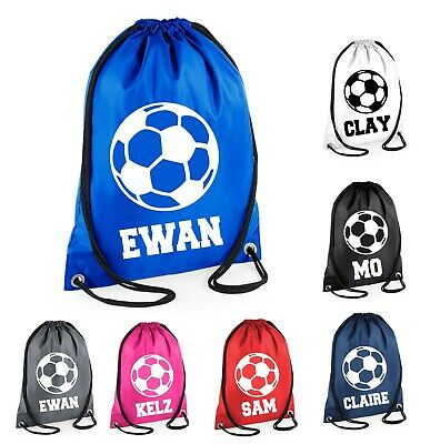 Personalised Name Drawstring Football Bag School Club PE Custom Name Sport