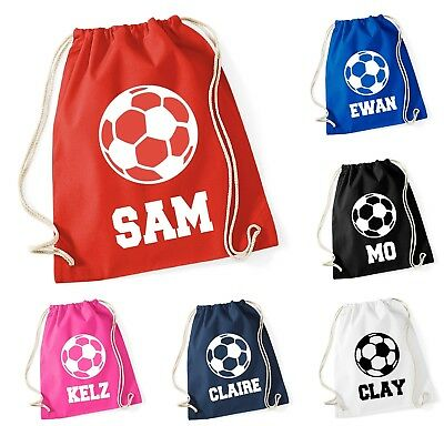 Personalised Name Cotton Bag Drawstring Football Bag School Club PE Custom Name