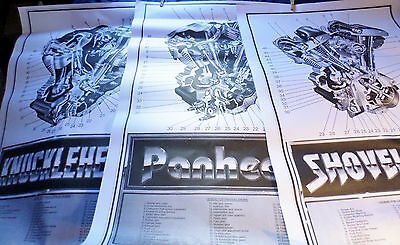 Set of 3 large Harley Knucklehead Panhead Shovelhead motor posters collectible